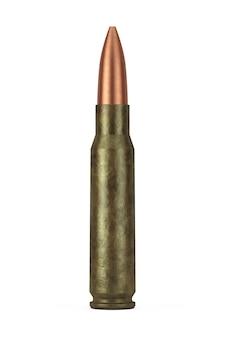 Karabiny automatyczne kaliber 7,62 mm metal bullet na białym tle. renderowanie 3d