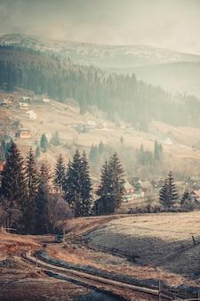 Karpacka wioska i góry