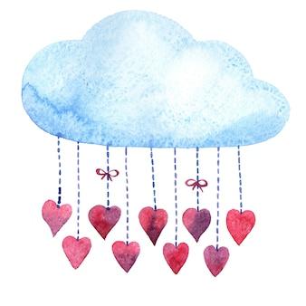 Karta akwarela, niebieska chmura, walentynki