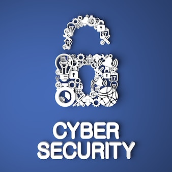 Karta bezpieczeństwa cybernetycznego wykonana ręcznie z papierowych postaci na niebieskim tle