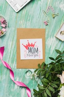 Karta dzień matki ze wstążką