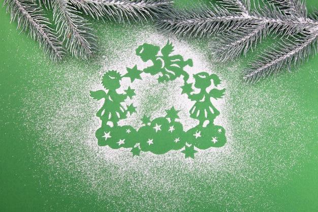 Karta koncepcja dobrego nowego roku, magiczne anioły w niebie, wesołych świąt