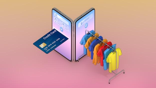 Karta kredytowa i ubrania na wieszaku pojawiły się na ekranie smartfonów, zakupy online czy koncept zakupoholików.