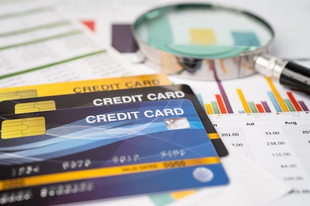 Karta kredytowa na papierze milimetrowym.