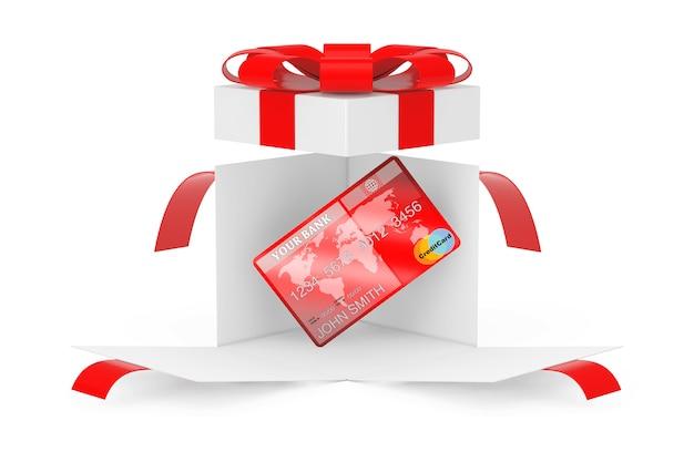 Karta kredytowa w otwarte niespodzianka białe pudełko z czerwoną wstążką i kokardą na białym tle. renderowanie 3d