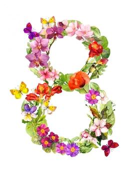 Karta kwiatowy na dzień kobiety 8 marca. kwiaty w akwarela i motyle