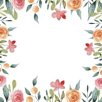 Karta kwiatowy. rama ilustracja kwiatowy wiosna. vintage etykieta. ferie wiosenne. letnia kolekcja różowych róż w ogrodzie