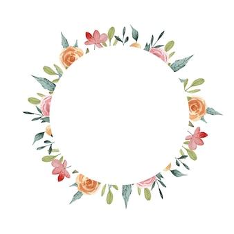 Karta kwiatowy. wiosna koło kwiatowy ilustracja. ferie wiosenne. letnia kolekcja różowych róż w ogrodzie