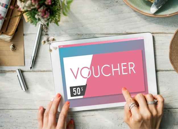 Karta podarunkowa voucher kupon koncepcja graficzna