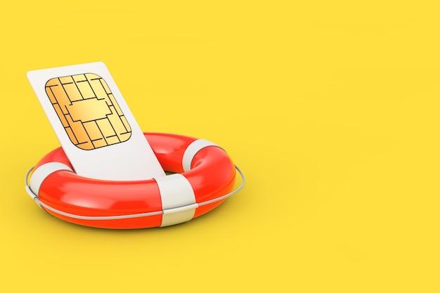 Karta sim z kołem ratunkowym na żółtym tle. renderowanie 3d