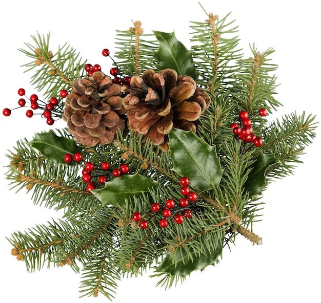 Kartka świąteczna z gałęziami i szyszkami jodły, śnieg, jagody, miejsce na kopię
