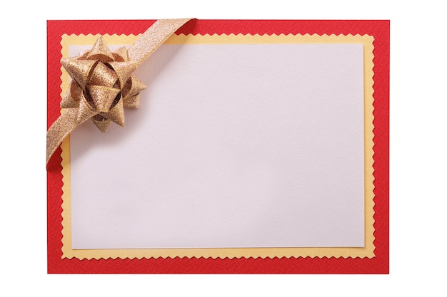 Kartka świąteczna złota kokarda czerwona ramka