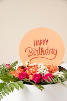 Kartka urodzinowa z układaniem kwiatów