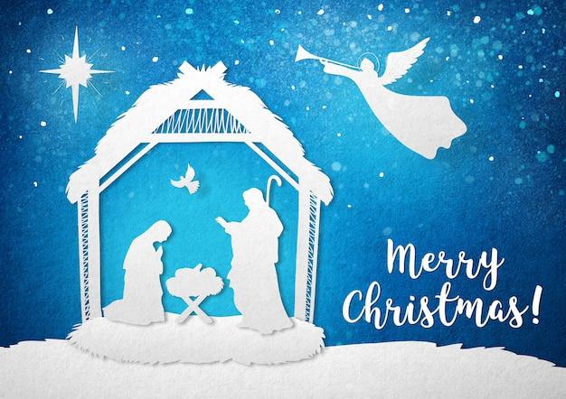 Kartka z życzeniami chrześcijańskiego narodzenia dzieciątka jezus z maryją i józefem święta noc