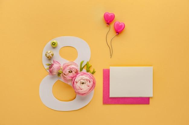 Kartka z życzeniami międzynarodowy dzień kobiet 8 marca.