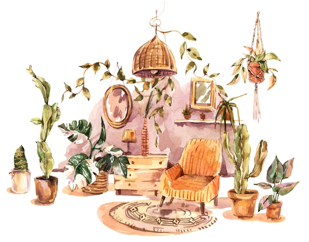 Kartkę z życzeniami wystrój domu akwarela boho