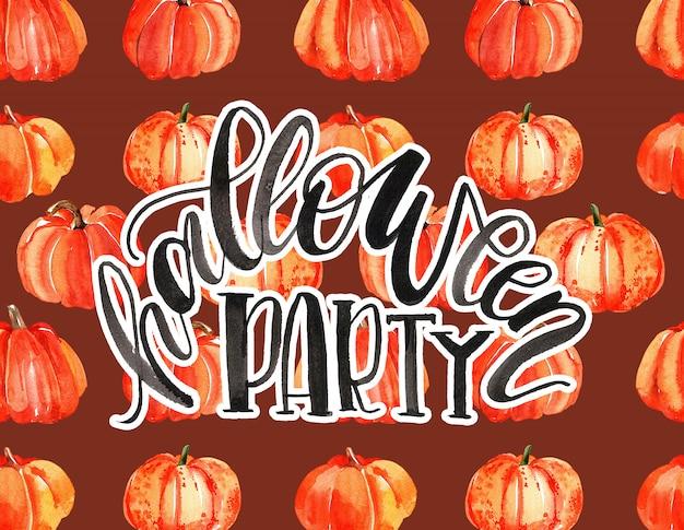 Kartkę z życzeniami z akwarela dyni halloween.