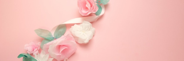 Kartkę z życzeniami z papieru kwiaty róża transparent tło.