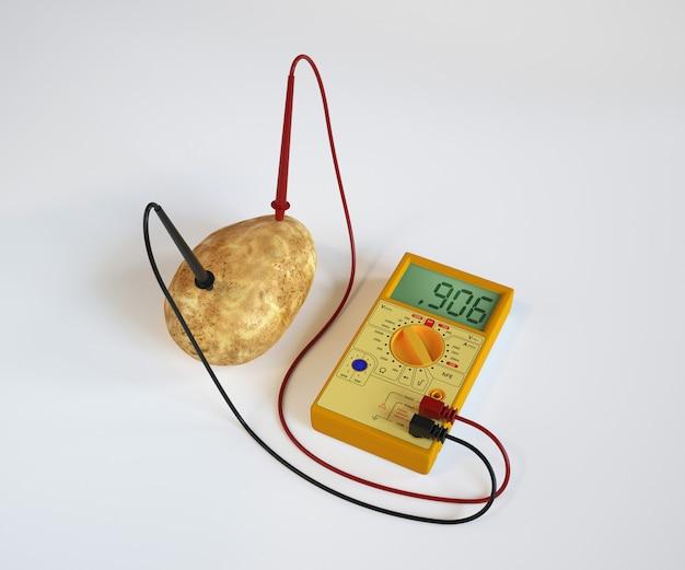 Kartoflana bateria na białym tle