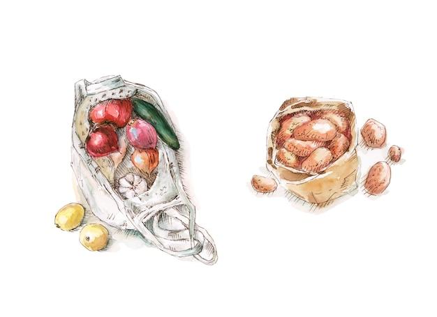 Kartoflani warzywa w eco torby ilustraci