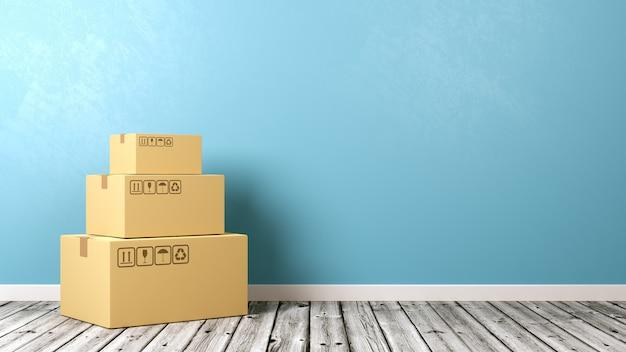 Karton na drewnianej podłodze przy ścianie