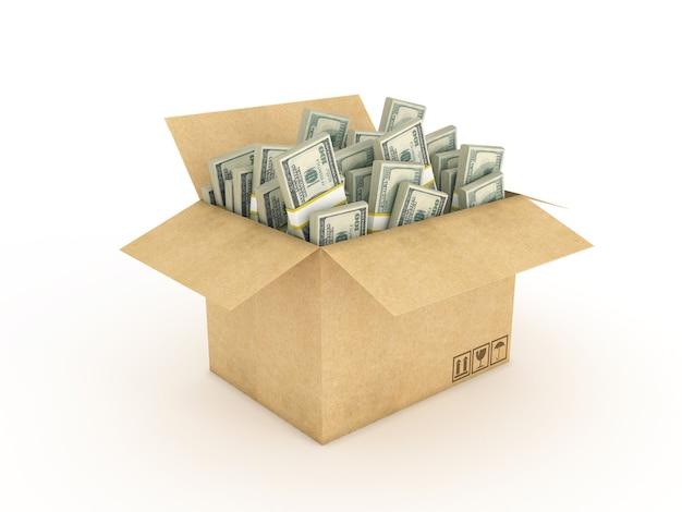 Karton z dolarami