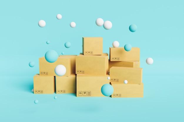 Kartonowe pudełka wysyłkowe na niebieskim tle z pływającymi kulami