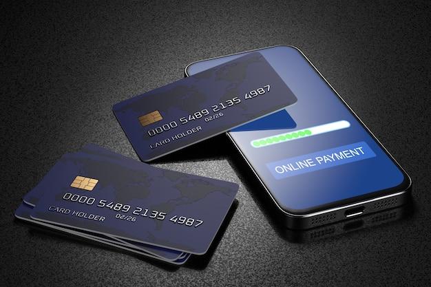 Karty bankowe na smartfonie. płać smartfonem. e-commerce, e-commerce, koncepcje płatności mobilnych. nowoczesne elementy graficzne. renderowane 3d.