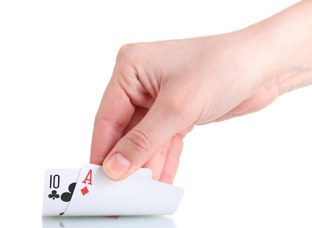 Karty i ręka na białym tle