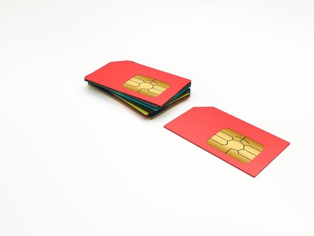 Karty sim w różnych kolorach