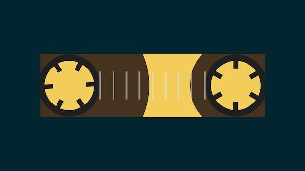 Kaseta magnetofonowa w płaskiej oprawie graficznej