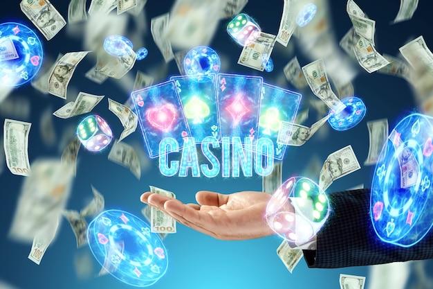 Kasyno napis na tle neonowych atrebutyków kasyna i spadających dolarów. wygrywanie, szablon reklamy kasyna, hazard, gry vegas, zakłady.