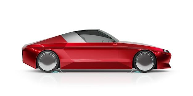 Kąt przedni widok ogólny czerwony samochód brandless ev na białym tle. renderowanie 3d z moim własnym kreatywnym projektem.