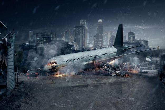 Katastrofa samolotu, pozostałości rozbitego samolotu pasażerskiego, wypadek lotniczy