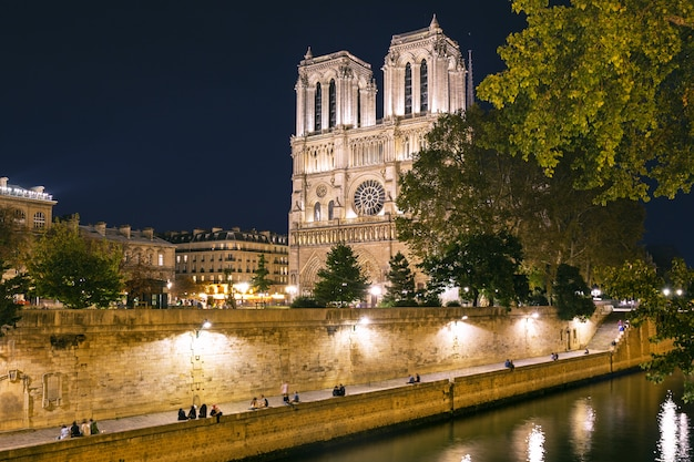 Katedra notre-dame w nocy w paryżu, francja