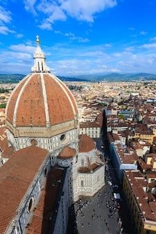 Katedra we florencji z dzwonnicy giotta, włoska panorama