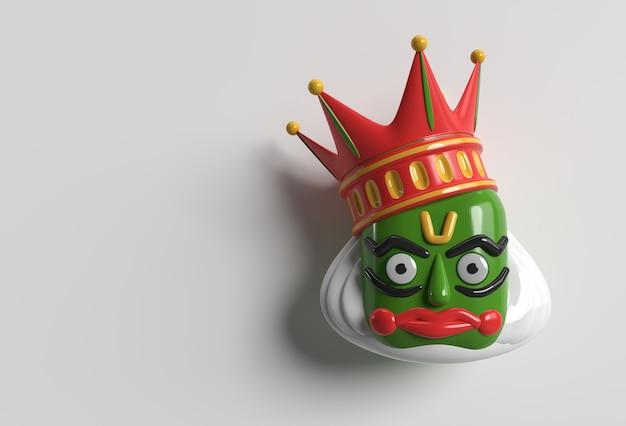 Kathakali twarz z ciężką koroną zdobione, ilustracja renderowania 3d.