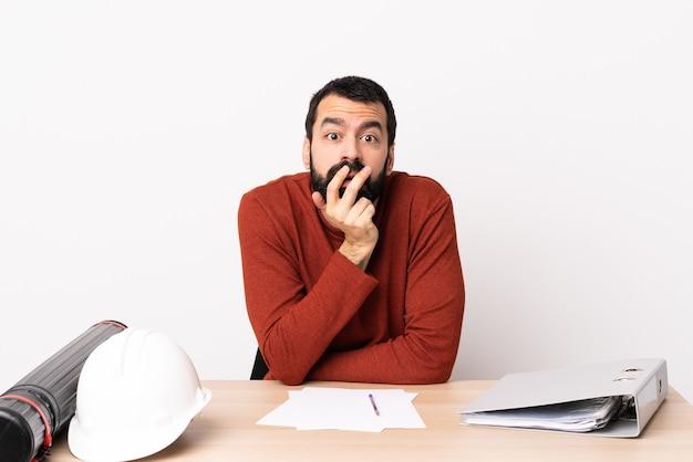 Kaukaski architekt mężczyzna z brodą w tabeli zaskoczony i zszokowany
