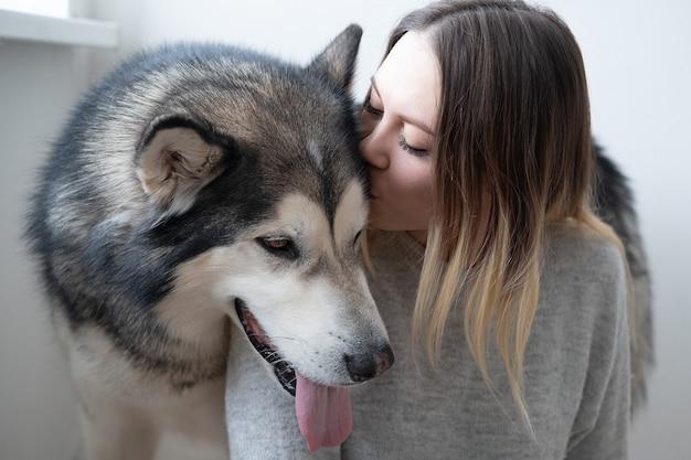 Kaukaski atrakcyjna kobieta całuje psa alaskan malamute. wnętrz.