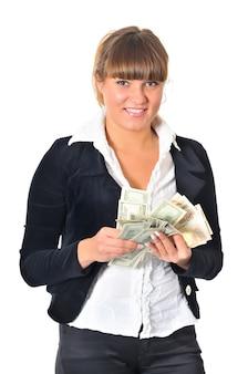 Kaukaski biały młoda brunetka kobieta ubrana w czarne spodnie i białą bluzkę pozuje