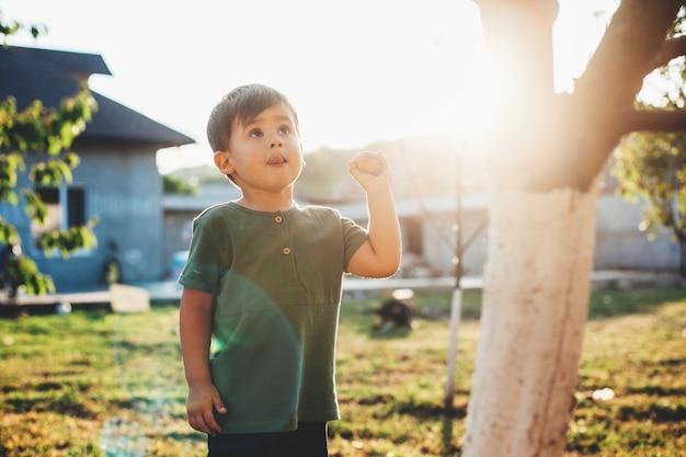 Kaukaski mały chłopiec trzymający jabłko i patrząc na drzewo podczas spaceru z rodzicami w dzień dziecka
