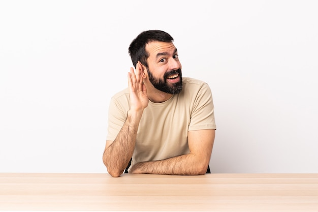 Kaukaski mężczyzna z brodą w stole słuchając czegoś, kładąc rękę na uchu