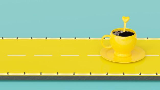 Kawa w żółtej filiżance na żółtej drodze