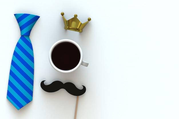 Kawa, wąsy i korona na białym tle