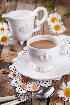 Kawa z mlekiem, śniadanie rano