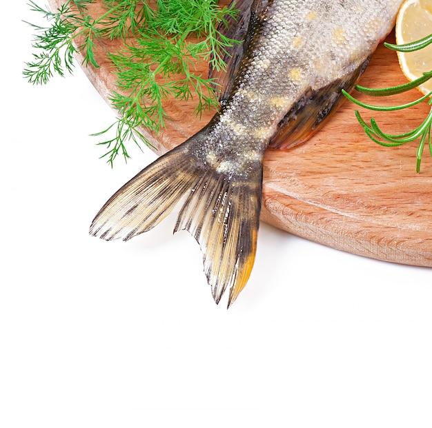 Kawałek świeżej surowej ryba w pucharze