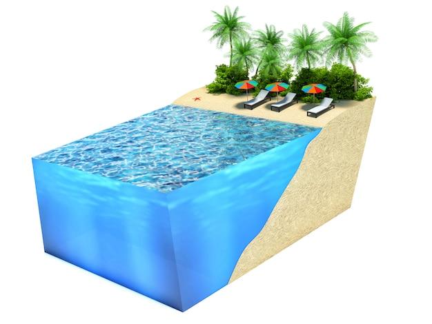 Kawałek tropikalnej wyspy z wodą i palmami. koncepcja wakacje