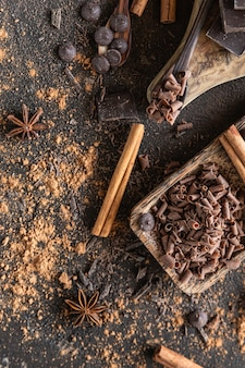 Kawałki czekolady, chipsy i krople z proszkiem kakaowym i przyprawami koncepcja słodkiego jedzenia