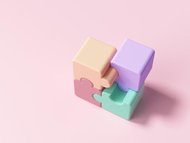 Kawałki puzzli na różowo