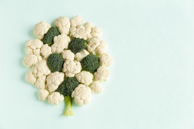 Kawałki surowe z brokułów i kalafiora w formie drzewka leżącego płasko